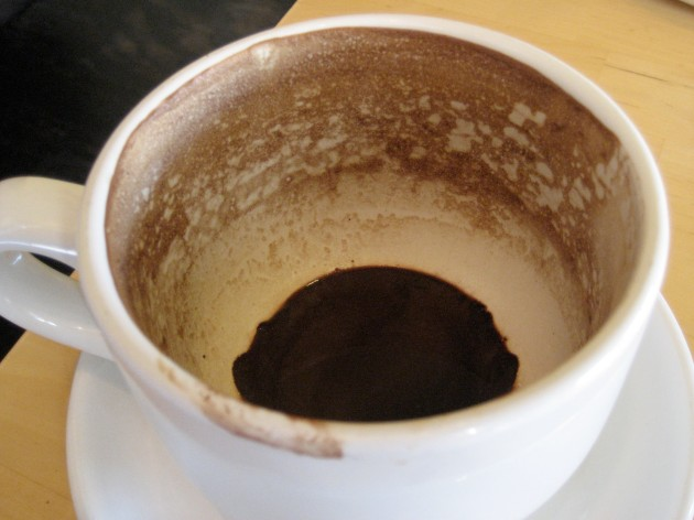 Dregs of mocha in a mug