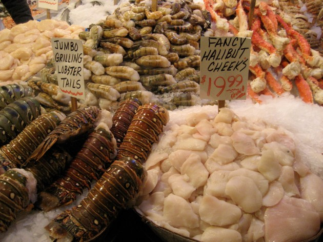 Seafood counter at Pike Place Market