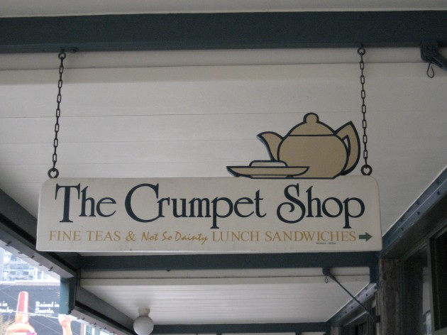 The Crumpet Shop sign