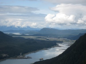 Looking at Juneau from the top of the tram