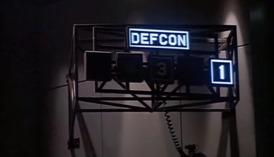DEFCON signage, on level 1
