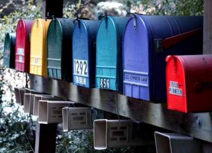 colorful mailboxes all lined up