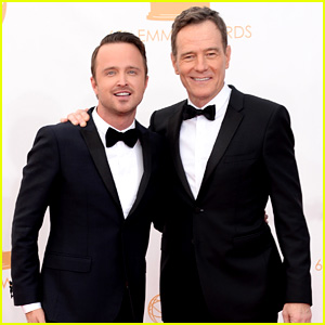Bryan Cranston and Aaron Paul at the 2013 Emmys