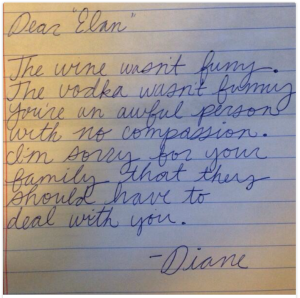 note from Diane to Elan